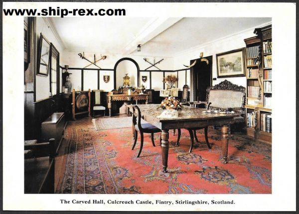 Culcreuch Castle, Stirlingshire - The Carved Hall, postcard